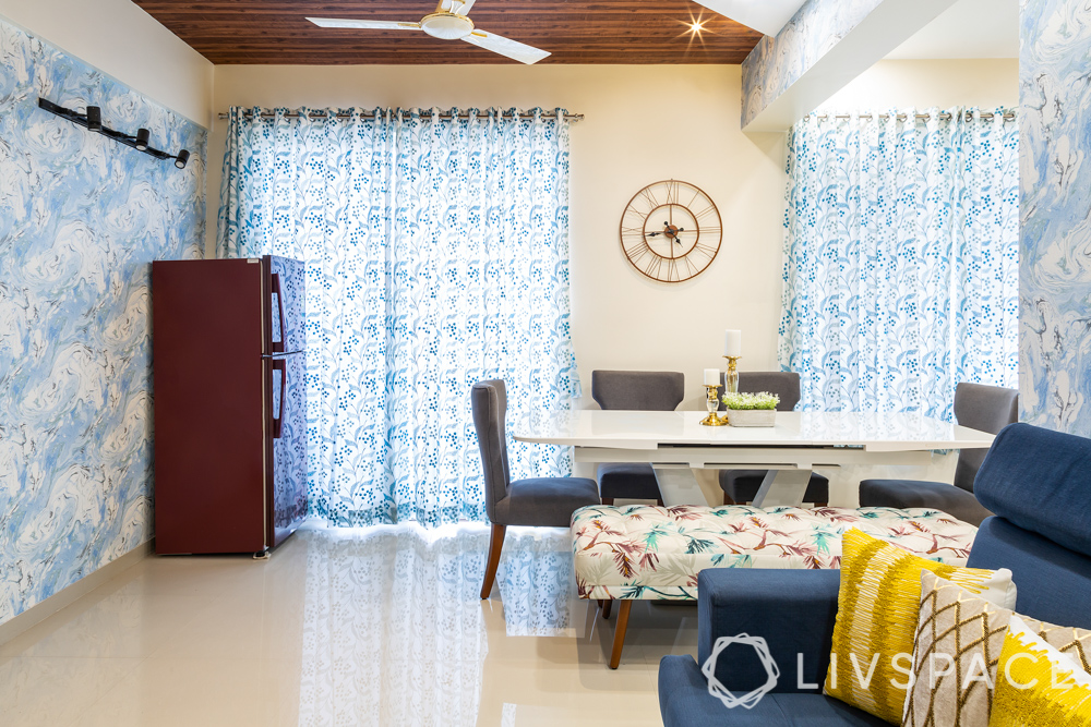 pune interior design-dining room-extendable dining table-curtains