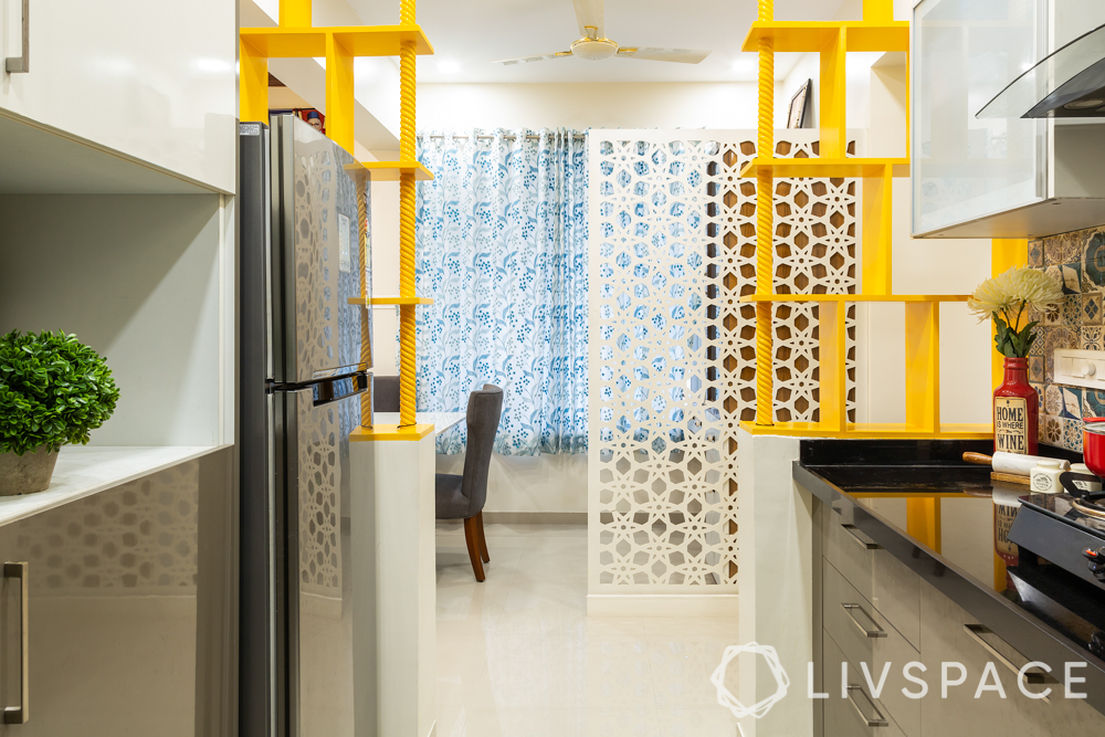 pune interior design-kitchen entry-display shelves-unique kitchen entry design