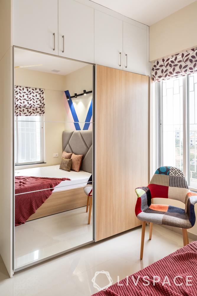 pune interior design-brother bedroom-sliding wardrobe-glass shutter