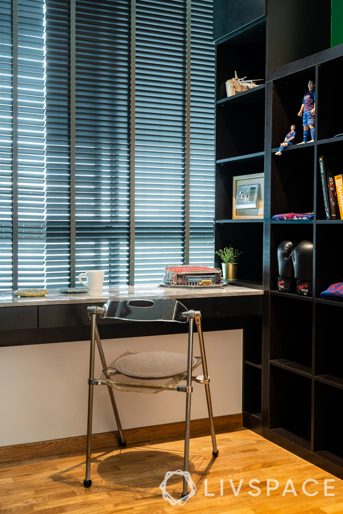 home office-blinds-foldable chair-bookshelf