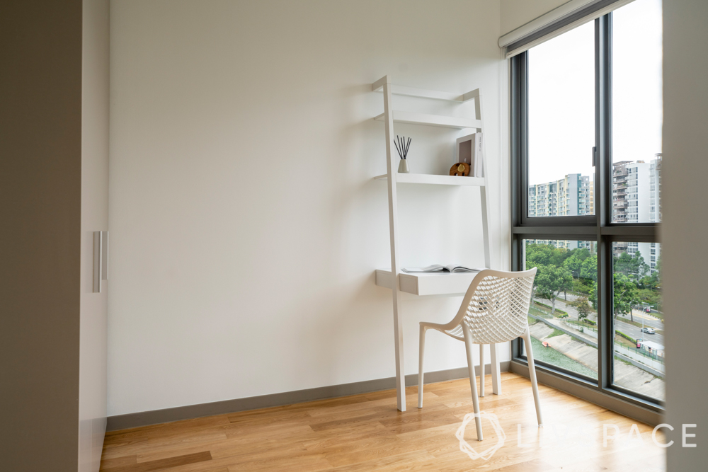home office-scandinavian design-white desk-white chair