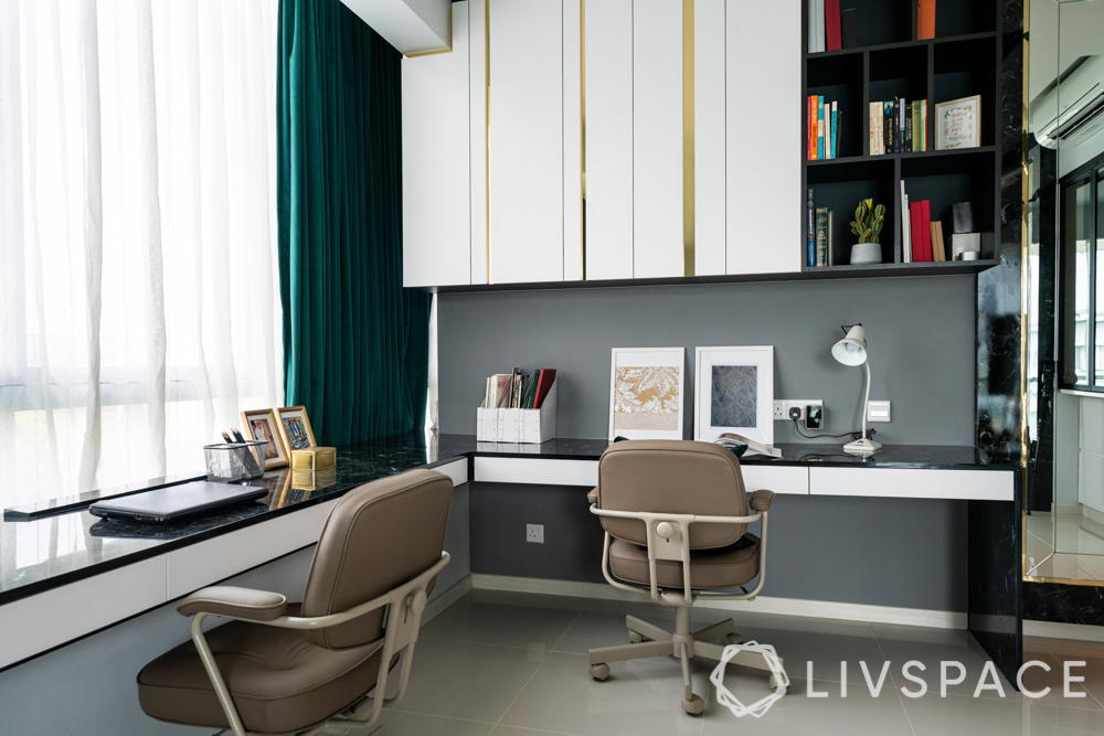 home office-formal study-revolving chairs-l-shaped desk