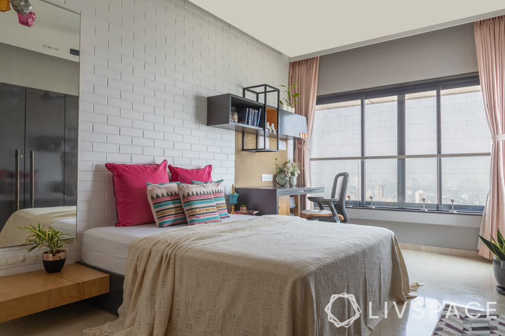 white brick wall-study unit-mirror-wardrobe designs