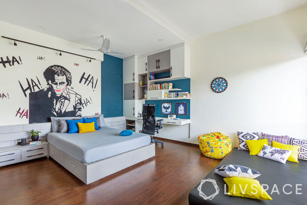 hdb bedroom design with study table-grey and white storage modules-blue wallpaper