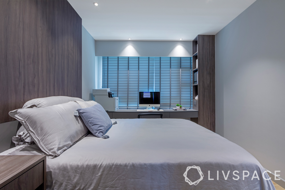 hdb bedroom design with study table-grey bed-grey wood-blinds